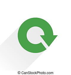 Flat green arrow icon reload, repeat sign