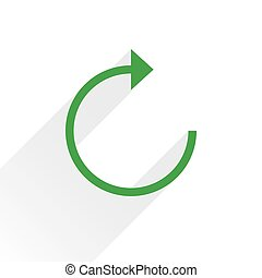 Flat green arrow icon reload sign on white