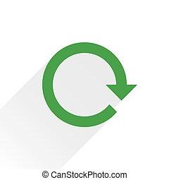 Flat green arrow icon reset sign on white