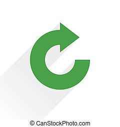 Flat green arrow icon rotation, reset sign