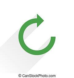 Flat green arrow icon rotation sign on white