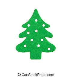 flat green christmas tree on a white background