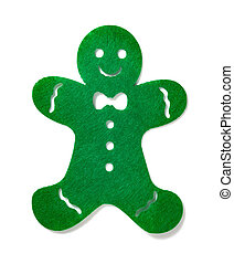 flat green gingerbread man on a white background
