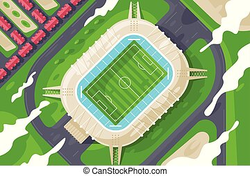 Flat green stadium from height for football.