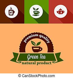 flat green tea design elements