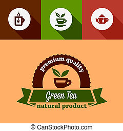 flat green tea design elements