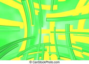 flat, green, yellow