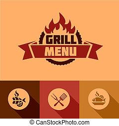 flat grill menu design elements - Illustration Grill Menu of...