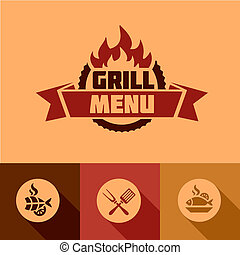 flat grill menu design elements - Illustration Grill Menu of...