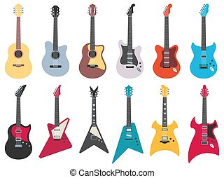 Flat guitars. Electric rock guitar, acoustic jazz and metal strings music instruments flat vector illustration set