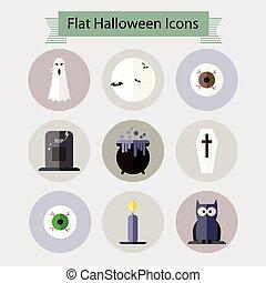 Flat halloween icons set 1