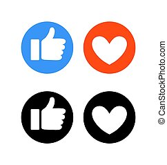 Flat hand and heart, signs of reaction in social networks. Dislike emoticon, round blue symbol thumbs up, red icon with heart, love. Black and white silhouette. Vector illustration