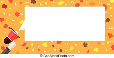 Flat Hand Bullhorn Speech Bubble Fall Foliage Percents Header
