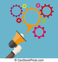 Flat Hand Bullhorn Speech Bubble Gears - Human hand with a...
