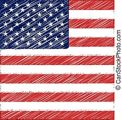 Flat Hand Draw Sketch Flag of United State of America