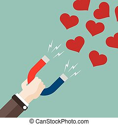 Flat Hand Magnet Hearts