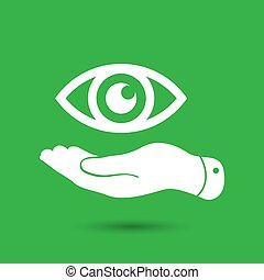 flat hand present the eye icon - vector illustration