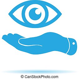 flat hand represents the eye icon - vector illustration