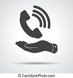 flat hand showing black phone receiver icon on a grey...