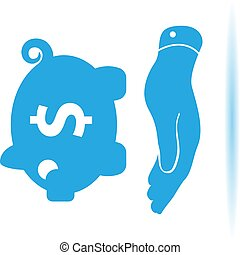 flat hand showing blue piggy bank icon on a white background