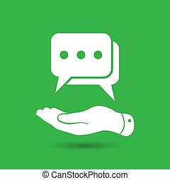 flat hand showing chat icon on the green background