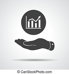 flat hand showing the icon of graph going up - vector illustrati