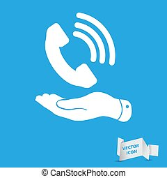 flat hand showing white phone receiver icon on a blue background