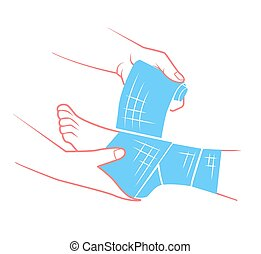 flat hand that bandaging the foot - first aid in the form of...