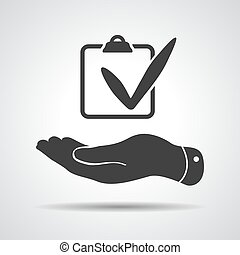flat hand with chek list icon