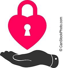 flat hand with heart lock shape icon vector illustration