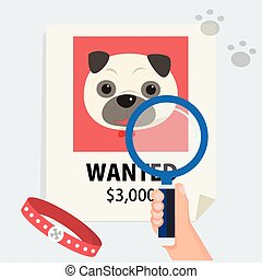 flat hand with magnification find cute dog from poster and footmark vector illustration. Missing dog and finding concept.