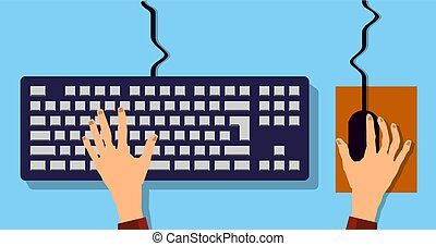 Flat Hands typing on keyboard with cable and blue background vector illustration