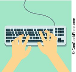 Flat Hands typing on keyboard with cable and pastel background vector illustration