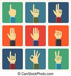 Flat hands vector icon set