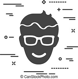 Flat happy head of man with glasses icon on a white background w