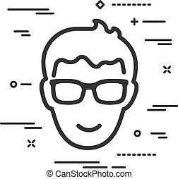 Flat happy head of man with glasses icon on a white background with lines