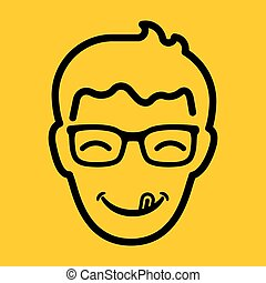 Flat happy head of man with smile, tongue and sunglasses on yellow background