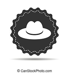 flat hat badge on the white background
