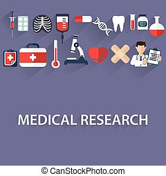 Flat health care and medical research background. Healthcare system concept. Medicine and chemical engineering