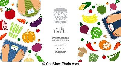 Flat Healthy Diet Concept