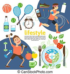 Flat Healthy Lifestyle Poster