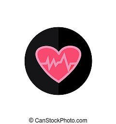 Flat Heart Beat Icon in Circle Frame for Web, App, Internet, Smartphone Interface. Vector Button