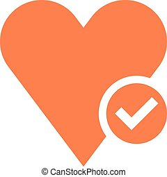 Flat heart icon favorite sign liked button with check mark....