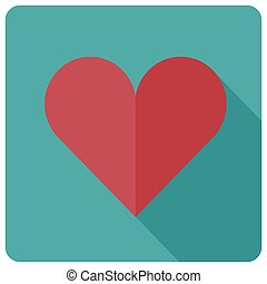 Flat heart icon, vector