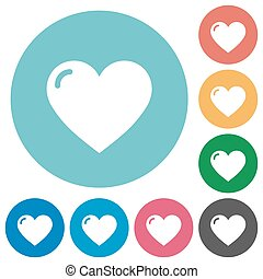 Flat heart shape icons
