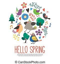 Flat Hello Spring Round Concept
