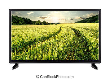 Flat high definition TV with road in the ears on the screen