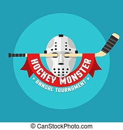 Flat hockey logo of retro hockey mask