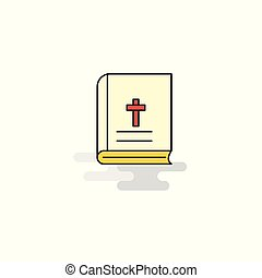 Flat Holy Bible Icon. Vector