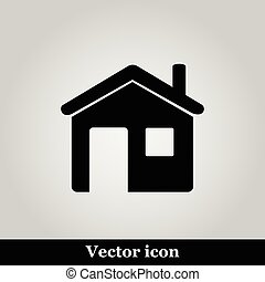 Flat home icon on grey background